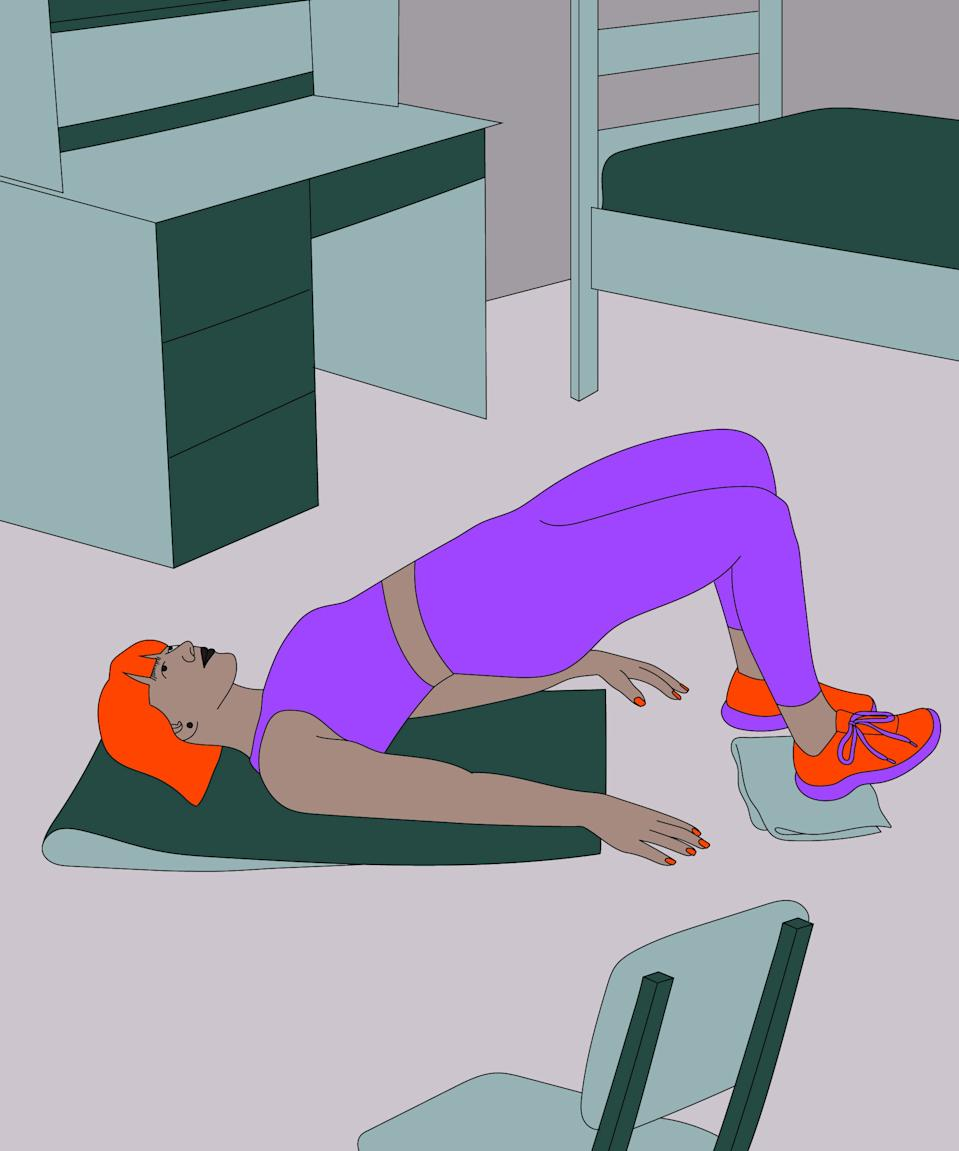 """<h2>Sliding glute bridge<br></h2><br>Lay on your back with your feet at hip distance on a towel. Try to position yourself so your finger tips can reach your heels.<br><br>Driving through the balls and heels of your feet, lift your hips off of the floor, <a href=""""https://www.refinery29.com/en-us/71690"""" rel=""""nofollow noopener"""" target=""""_blank"""" data-ylk=""""slk:like a thrust"""" class=""""link rapid-noclick-resp"""">like a thrust</a>. As they rise, tighten your core, and tuck your pelvis up towards the chest bone with a slight opening of the knees. <br><br>Keeping your hips elevated, slide your feet away from you, then pull them back under your knees to work the back of the legs and booty.<br><br>Lower yourself back to start position. That's one rep. Repeat 10x. <br><br>"""