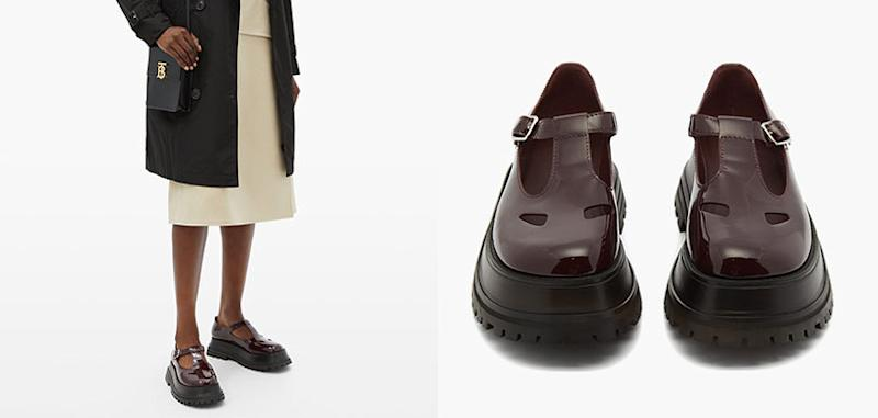 BURBERRY - Aldwych patent-leather T-bar flats