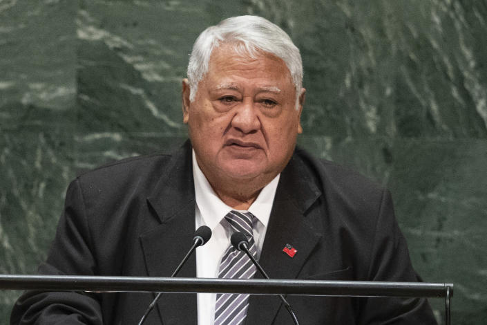 FILE - In this Sept. 29, 2019, file photo, then Samoa's Prime Minister Tuilaepa Sailele Malielegaoi addresses the 74th session of the United Nations General Assembly at the U.N. headquarters in New York. More than three months after winning an election which sparked a constitutional crisis, Samoa's first female prime minister was finally able to take office on Tuesday, July 27, 2021. After a knife-edge election result in April, Tuilaepa refused to concede defeat, despite several court rulings which went against him. (AP Photo/Kevin Hagen, File)