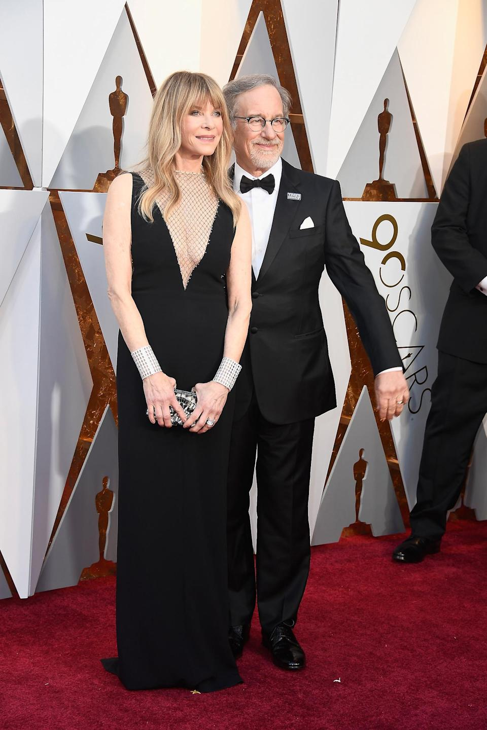<p>Kate Capshaw covered up her chest with sheer fabric. (Photo by Frazer Harrison/Getty Images) </p>