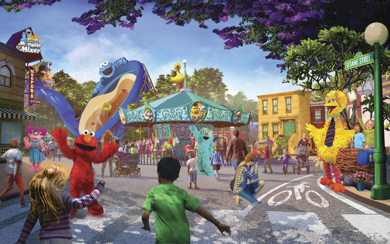 This undated artist rendering provided by PGAV Destinations shows a depiction of the new SeaWorld and Sesame Workshop theme park, which is scheduled to open in San Diego in 2021. The new 17-acre Sesame Place park will be adjacent to their Sea World San Diego location. (PGAV Destinations via AP)