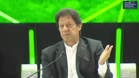 Pakistan's Prime Minister, Imran Khan speaks during a news conference at Saudi investment summit in Riyadh, Saudi Arabia October 23, 2018 in this still image taken from a video. Saudi TV/Reuters TV/via REUTERS
