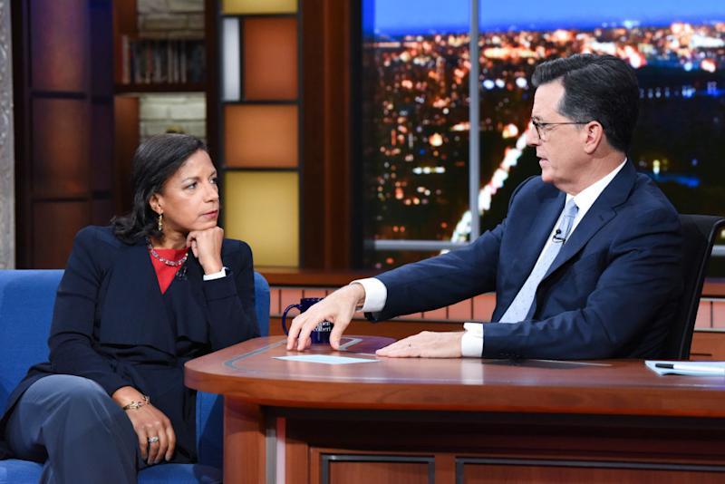 Susan Rice appearing on The Late Show with Stephen Colbert in October. Source: Getty