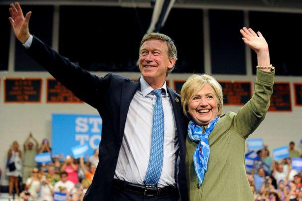 PHOTO: Democratic presidential nominee Hillary Clinton and Colorado Governor John Hickenlooper wave to supporters after her speech at Adams City High School in Commerce City, Colo., Aug. 3, 2016. (Jason Connolly/AFP/Getty Images)