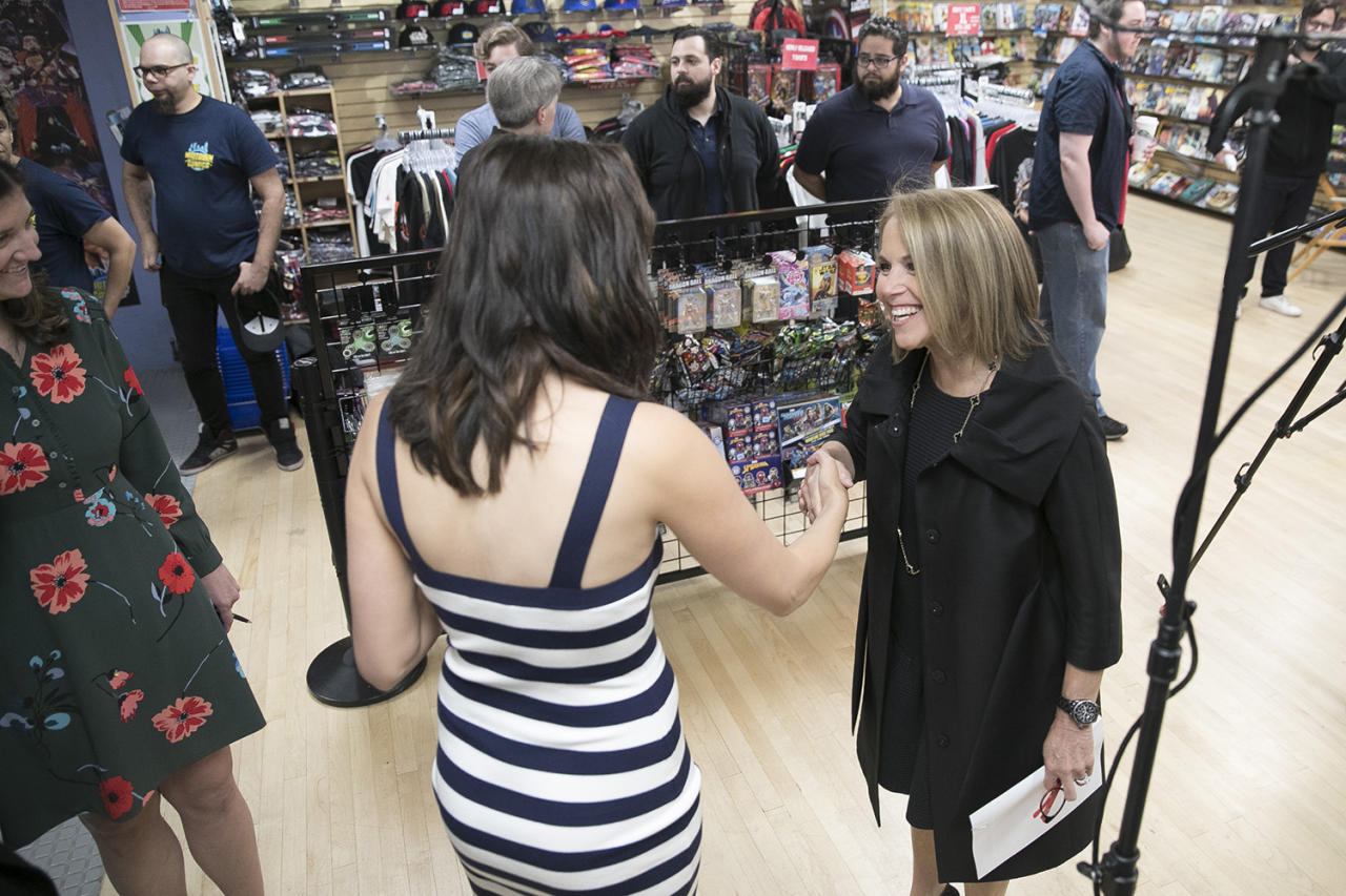 <p>Yahoo Global News Anchor Katie Couric greets actress Gal Gadot at the Midtown Comics in New York City on May 23, 2017. (Gordon Donovan/Yahoo News) </p>