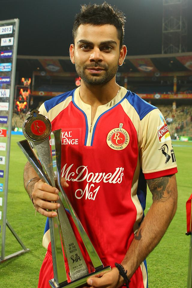Virat Kohli man of the match during match 9 of of the Pepsi Indian Premier League between The Royal Challengers Bangalore and The Sunrisers Hyderabad held at the M. Chinnaswamy Stadium, Bengaluru on the 9th April 2013..Photo by Ron Gaunt-IPL-SPORTZPICS ..Use of this image is subject to the terms and conditions as outlined by the BCCI. These terms can be found by following this link:..https://ec.yimg.com/ec?url=http%3a%2f%2fwww.sportzpics.co.za%2fimage%2fI0000SoRagM2cIEc&t=1493097320&sig=..ckoZpvkWhwUKsBa7ceFg--~C