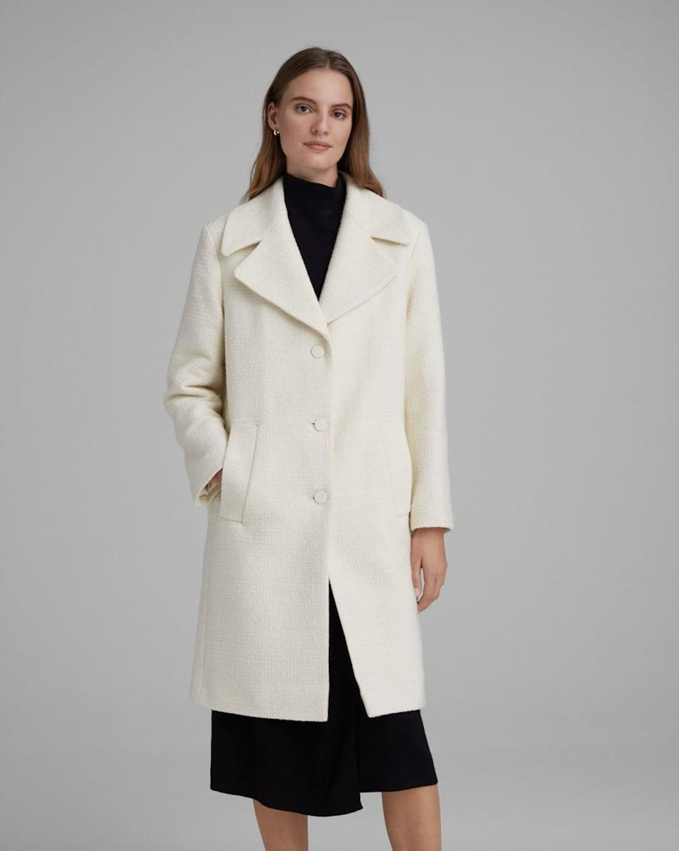 <p>Pair this <span>Mango Quilted Bouclé Coat </span> ($159, originally $398) with an off-white ensemble for a fresh monochrome spring look</p>