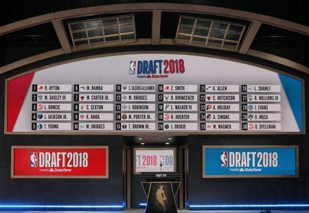 Jun 21, 2018; Brooklyn, NY, USA; A general view of the draft board following the first round of the 2018 NBA Draft at the Barclays Center. Mandatory Credit: Brad Penner-USA TODAY Sports