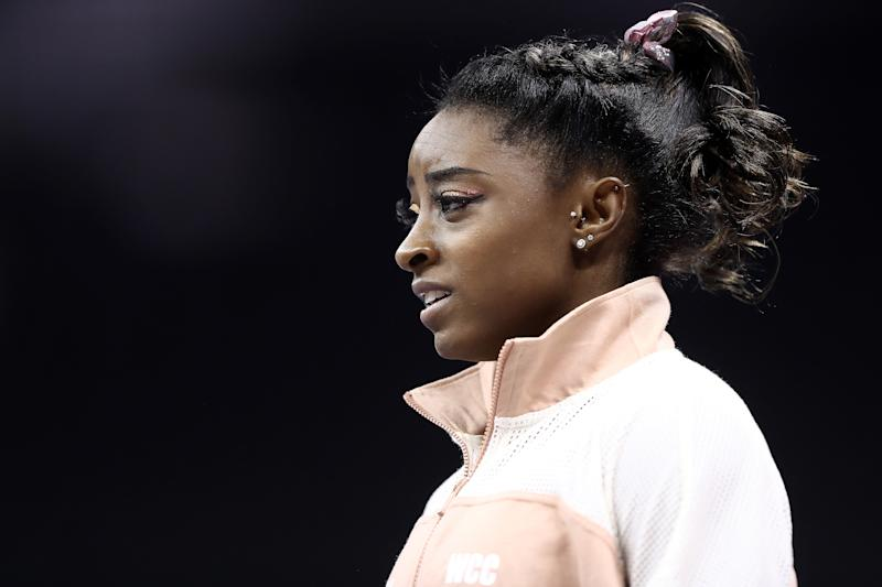 Simone Biles' brother, Tevin Biles-Thomas, has been charged with murder in Ohio. (Photo by Jamie Squire/Getty Images)