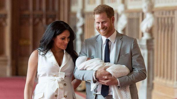 PHOTO: Britain's Prince Harry, Duke of Sussex and his wife Meghan, Duchess of Sussex, carry their newborn baby son in St George's Hall at Windsor Castle in Windsor, England, May 8, 2019. (Dominic Lipinski/Pool via AFP/Getty Images)