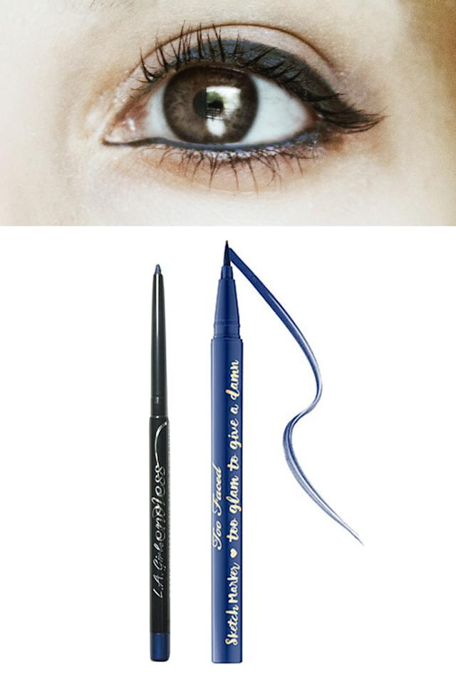 """<p>Blue liner has been all over the runways, but unlike electric blue, navy is super wearable during the day and into the night. And, as opposed to black, midnight blues will read softer on warm brown eyes.</p><p>Try: <a rel=""""nofollow"""" href=""""http://www.beautybay.com/cosmetics/lagirl/endlesssemipermanentautoeyelinerpencil?utm_source=google%2Bshopping&utm_medium=organic&utm_campaign=shopping%2Bfeed&selectedSku=LAGI0125F&ctyid=gb&gclid=CIXTsavh5NACFUW4GwodfWoIlQ"""">L.A GirlEndless Semi Permanent Auto Eyeliner Pencil in Navy,</a>£2.49<span>, and <a rel=""""nofollow"""" href=""""http://www.debenhams.com/webapp/wcs/stores/servlet/prod_10701_10001_154614112699_-1"""">Too Faced's Sketch Marker in Deep Navy,</a>£17.</span></p>"""