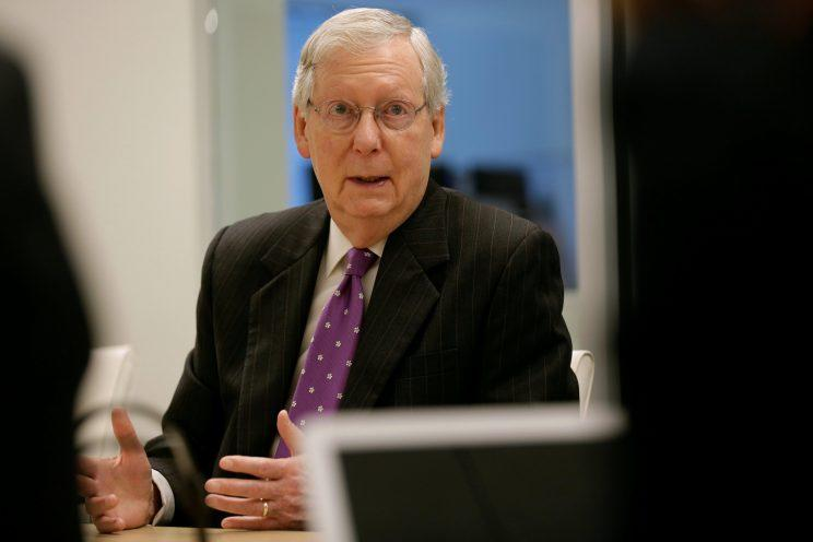 Senate Majority Leader Mitch McConnell during a Wednesday interview with Reuters in Washington, D.C.