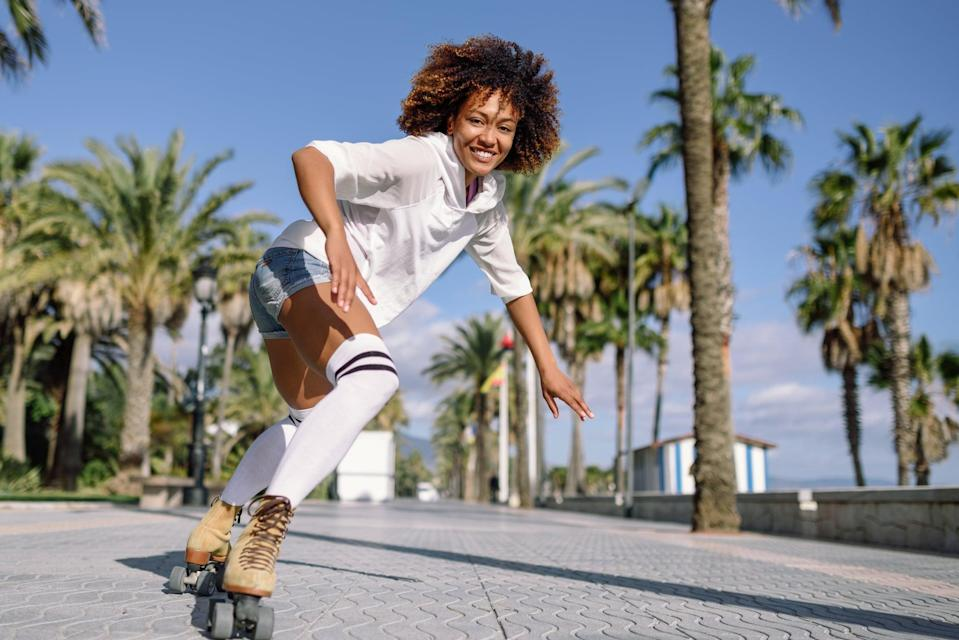 <p>With each type of roller skating comes different levels of energy exertion as well as muscle movements. Nauratan-Burgos broke down skating workouts you can do if you're looking to focus and strengthen specific areas of the body: </p> <ul> <li><strong>Skate-park skating</strong>: because you're dropping in, pumping, and carving, you're working your quadricep, hamstring, gluteus, and core muscles through more of a workout, more quickly than you would trail or street skating. This is because you are moving at a faster pace and higher intensity than you would be on a casual skate. </li> <li><strong>Street or trail skating</strong>: a great workout, but you're more likely to encounter obstacles like inclines and declines. To skate comfortably through these, you'll have to use different techniques, such as backward skating. Going uphill, you're getting a good stretch to your core, hamstrings, and glutes, while stretching your core, adductors, and abductors on your way downhill. </li> <li><strong>Dance skating</strong>: this involves a lot of core strength and works every muscle in the legs, including the calves! Dance skating also works your neuromuscular control, which helps influence movement and posture. </li> </ul>