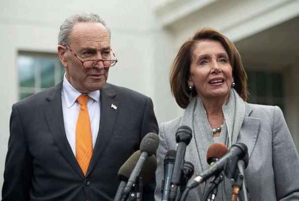 PHOTO: Senate Democratic Leader Chuck Schumer and Speaker of the House Nancy Pelosi talk to the media following a meeting with President Donald Trump about the partial government shutdown at the White House, Jan. 9, 2019. (Saul Loeb/AFP/Getty Images)