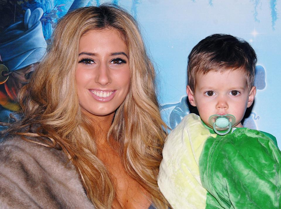 Stacey Solomon and her son Zachary attend 'The Princess And The Frog' Tea Party at the Mayfair Hotel on January 24, 2010 in London, England. (Photo by Stuart Wilson/Getty Images)