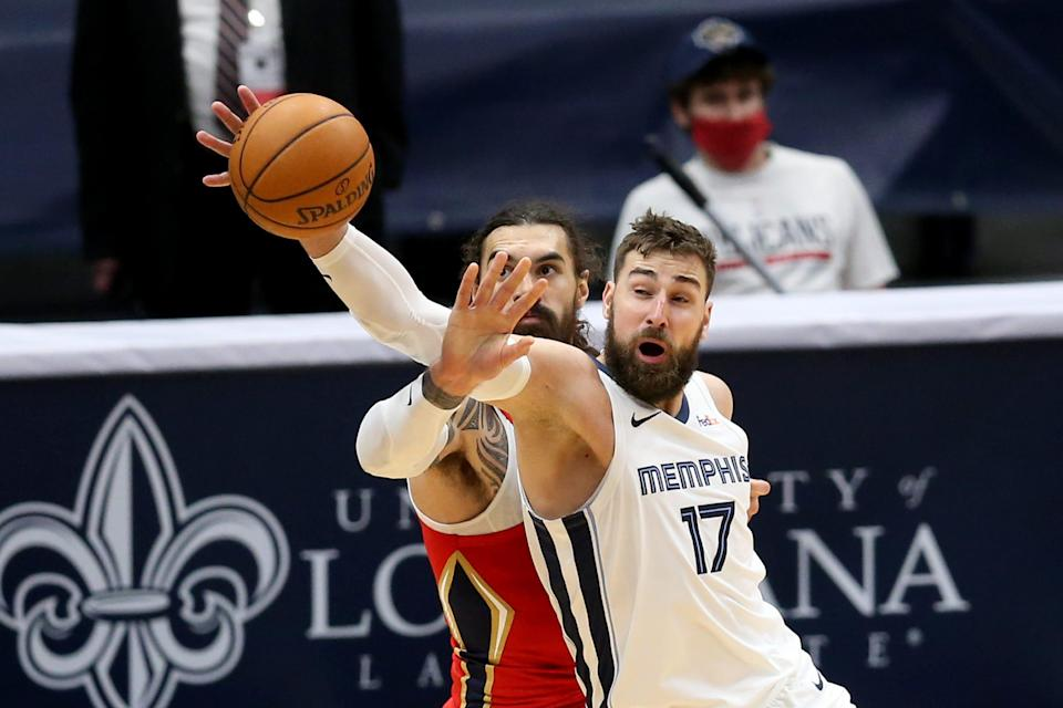 Memphis is trading Jonas Valanciunas (17) to New Orleans in deal that includes Steven Adams (12).