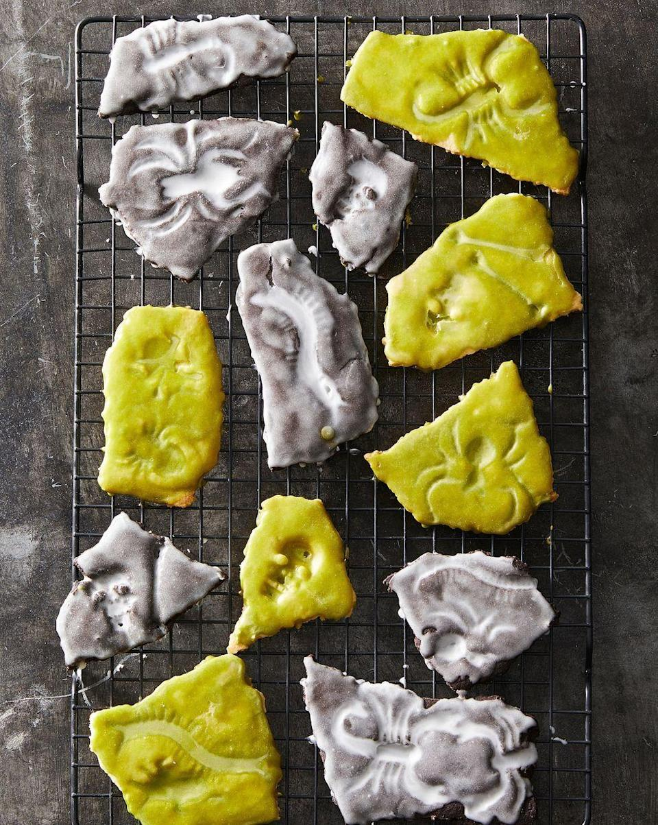 """<p>Your guests will be buggin' when they see these creepy (and delicious) cookies. </p><p><em><a href=""""https://www.goodhousekeeping.com/food-recipes/party-ideas/a28593596/fossil-cookies-recipe/"""" rel=""""nofollow noopener"""" target=""""_blank"""" data-ylk=""""slk:Get the recipe for Fossil Cookies »"""" class=""""link rapid-noclick-resp"""">Get the recipe for Fossil Cookies »</a></em></p><p><strong>RELATED: </strong><a href=""""https://www.goodhousekeeping.com/holidays/halloween-ideas/g2711/halloween-cupcakes/"""" rel=""""nofollow noopener"""" target=""""_blank"""" data-ylk=""""slk:40+ Seriously Cute Halloween Cupcake Ideas"""" class=""""link rapid-noclick-resp"""">40+ Seriously Cute Halloween Cupcake Ideas</a></p>"""