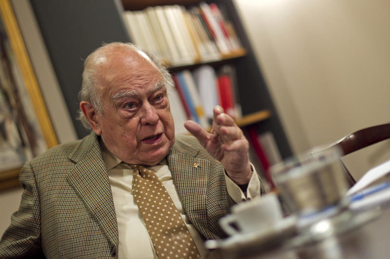 Former President of Catalonia Jordi Pujol speaks during an interview with AFP in Barcelona on May 26, 2014