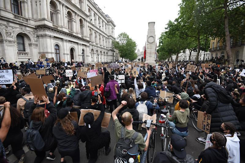 LONDON, ENGLAND - JUNE 07: Protesters attend the Black Lives Matter Demonstration at Whitehall in central London, United Kingdom on June 7, 2020. (Photo by Kate Green/Anadolu Agency via Getty Images)