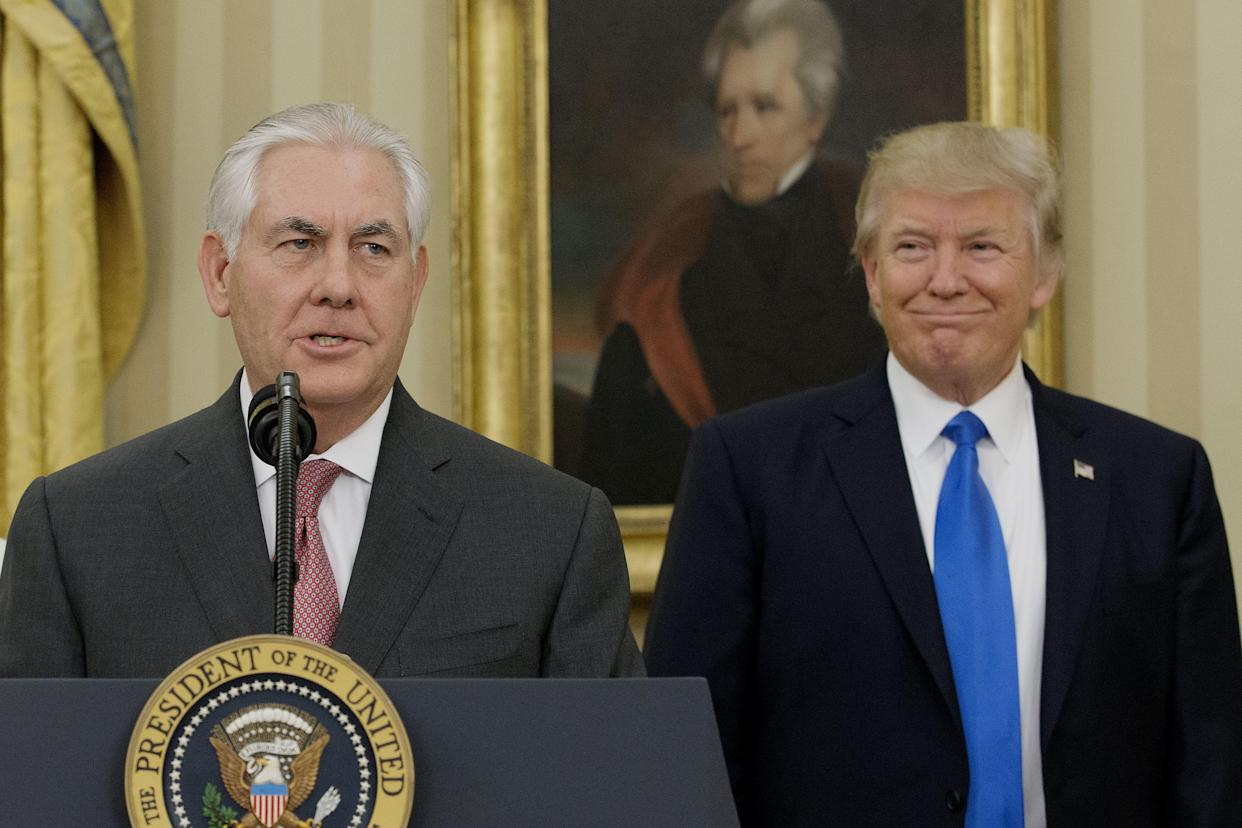 Rex Tillerson after being sworn in as secretary of state as President Trump looks on in the Oval Office on Feb. 1, 2017. (Photo: Michael Reynolds/Pool via Bloomberg)