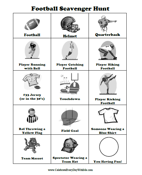 "<p>There's no need to wait for the Super Bowl to try this football-themed scavenger hunt — just cue up a game and kids can start pointing out the quarterback, a touchdown, and more.</p><p><em><a href=""https://celebrateeverydaywithme.com/free-scavenger-hunt-printable-for-a-football-game/"" rel=""nofollow noopener"" target=""_blank"" data-ylk=""slk:See more at Celebrate Everyday With Me »"" class=""link rapid-noclick-resp"">See more at Celebrate Everyday With Me »</a> </em></p>"