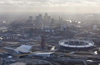 An aerial view shows the London 2012 Olympic Games Olympic Stadium, Aquatics Centre, Water Polo and the Orbit, at the Olympic Park in London December 20, 2011. REUTERS/LOCOG/Handout