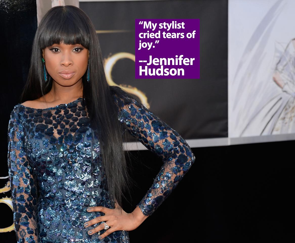 Singer/actress Jennifer Hudson arrives at the Oscars at Hollywood & Highland Center on February 24, 2013 in Hollywood, California.