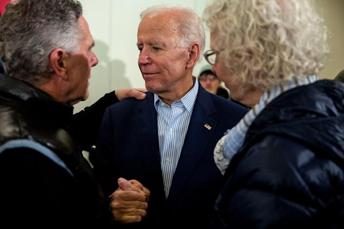 Nic and Margie Gindorff, of Dubuque, talk to former Vice President Joe Biden about the death of their son to cancer after his speech at the Grand River Conference Center, on Tuesday, April 30, 2019, in Dubuque. This is Biden's first trip to Iowa after announcing his run for president.