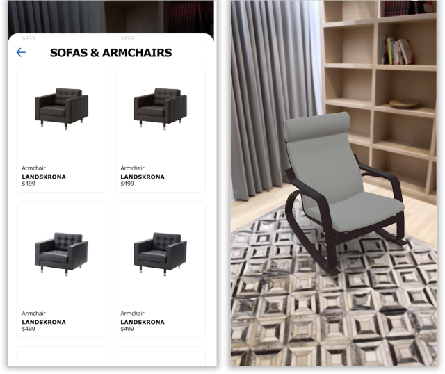 Ikea Place lets you choose furniture (left) to try out in your real-world rooms (right).