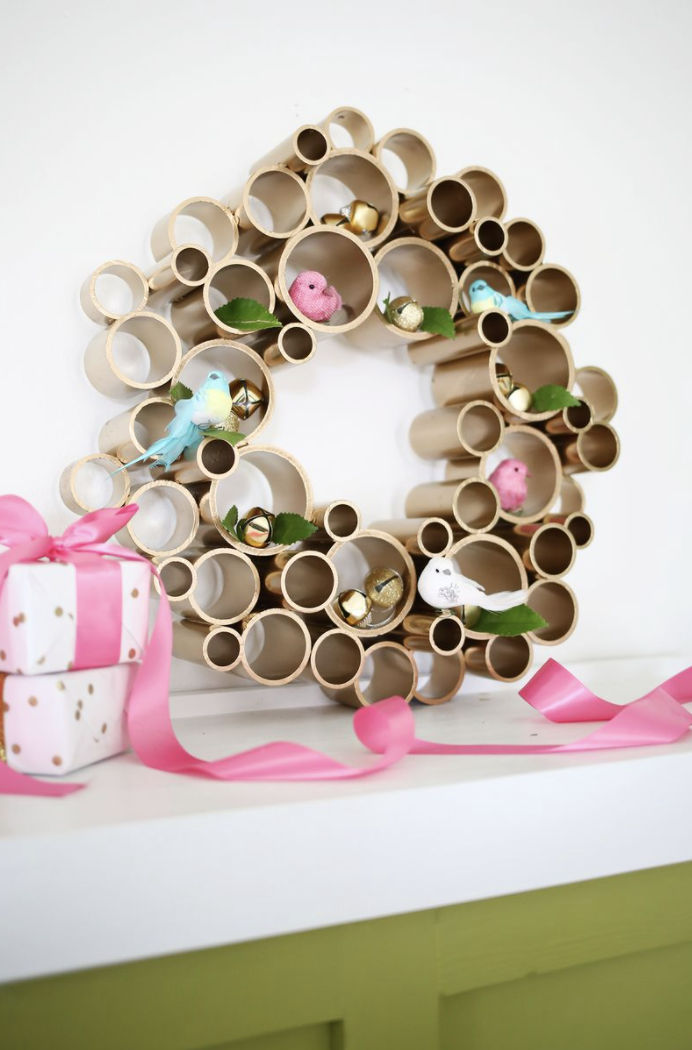 "<p>For Pinterest-inspired decor, try this mod PVC pipe wreath. For such a utilitarian supply, the end result is surprisingly chic. (For a more traditional holiday look, use faux cardinals.) </p><p><em>Get the tutorial at <a href=""https://abeautifulmess.com/try-this-pvc-pipe-wreath/"" rel=""nofollow noopener"" target=""_blank"" data-ylk=""slk:A Beautiful Mess"" class=""link rapid-noclick-resp"">A Beautiful Mess</a>.</em></p><p><a class=""link rapid-noclick-resp"" href=""https://www.amazon.com/Feitore-Cardinals-Artificial-Decorations-Centerpieces/dp/B08FMKDQQR?tag=syn-yahoo-20&ascsubtag=%5Bartid%7C10072.g.34484299%5Bsrc%7Cyahoo-us"" rel=""nofollow noopener"" target=""_blank"" data-ylk=""slk:SHOP FAUX BIRDS"">SHOP FAUX BIRDS</a></p>"