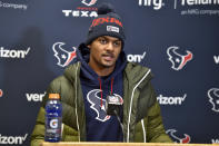 FILE - Houston Texans quarterback Deshaun Watson speaks during a news conference following an NFL divisional playoff football game against the Kansas City Chiefs in Kansas City, Mo., in this Sunday, Jan. 12, 2020, file photo. It's a sad time for Houston sports fans after multiple superstars have left he city in the last year. Things could get even worse soon after Deshaun Watson requested a trade amid continued turmoil with the Texans. (AP Photo/Ed Zurga, File)