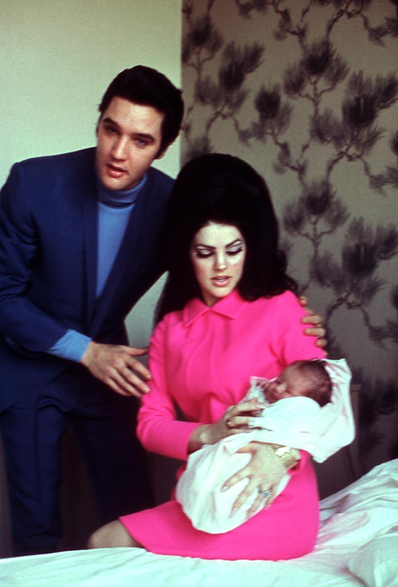 Rock and roll singer Elvis Presley with his wife Patricia Beaulieu Presley and their newborn daughter Lisa Marie Presley February 1, 1968 in Memphis, Tennessee.