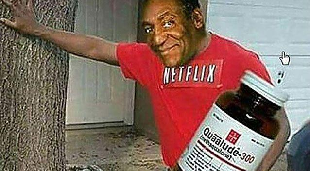 One of posts (above) shows Bill Cosby holding a Quaalude bottle and lobbing a pill into a cocktail drink. Source: Facebook.