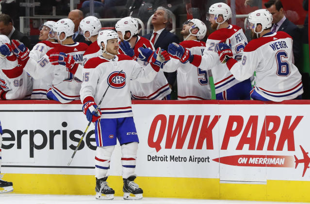 Montreal Canadiens' Andrew Shaw (65) celebrates his goal against the Detroit Red Wings in the second period of an NHL hockey game, Tuesday, Feb. 26, 2019, in Detroit. (AP Photo/Paul Sancya)