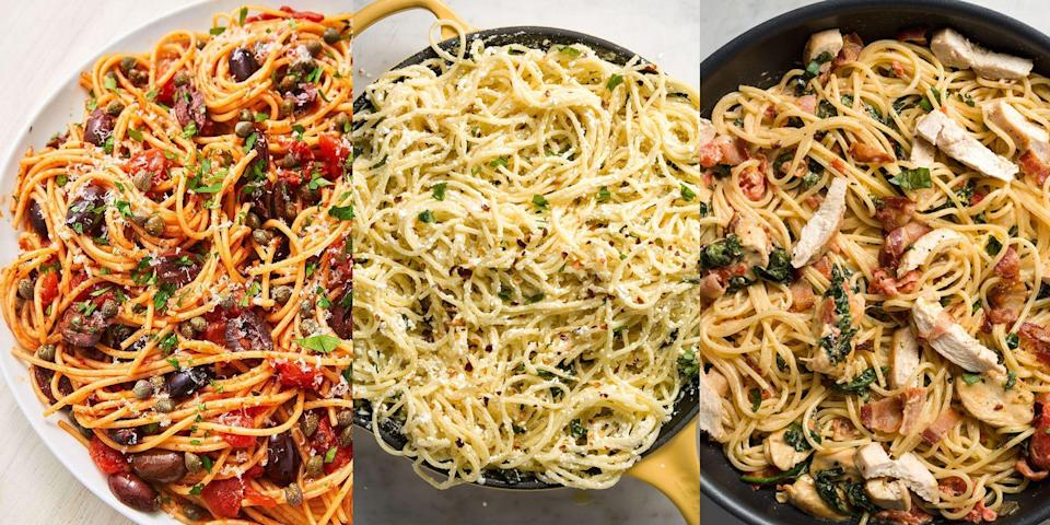 """<p><a href=""""https://www.delish.com/uk/cooking/recipes/a29755014/bolognese-sauce-recipe/"""" rel=""""nofollow noopener"""" target=""""_blank"""" data-ylk=""""slk:Bolognese"""" class=""""link rapid-noclick-resp"""">Bolognese</a> is great, but have you ever tried using spaghetti for another type of <a href=""""https://www.delish.com/uk/cooking/recipes/g33432952/best-pasta-recipes/"""" rel=""""nofollow noopener"""" target=""""_blank"""" data-ylk=""""slk:pasta"""" class=""""link rapid-noclick-resp"""">pasta</a> dish? We're talking <a href=""""https://www.delish.com/uk/cooking/recipes/a29082375/mexican-chicken-pasta-recipe/"""" rel=""""nofollow noopener"""" target=""""_blank"""" data-ylk=""""slk:Mexican Chicken Pasta"""" class=""""link rapid-noclick-resp"""">Mexican Chicken Pasta</a> (with spaghetti), <a href=""""https://www.delish.com/uk/cooking/recipes/a28909109/chicken-carbonara-pasta-recipe/"""" rel=""""nofollow noopener"""" target=""""_blank"""" data-ylk=""""slk:Chicken Carbonara"""" class=""""link rapid-noclick-resp"""">Chicken Carbonara</a> (with spaghetti) or <a href=""""https://www.delish.com/uk/cooking/recipes/a29844059/smoked-salmon-pasta-recipe/"""" rel=""""nofollow noopener"""" target=""""_blank"""" data-ylk=""""slk:Smoked Salmon Pasta"""" class=""""link rapid-noclick-resp"""">Smoked Salmon Pasta</a> (with spaghetti). Yep! Spaghetti can practically be used for anything. It's great simply paired with olive oil, garlic and a bunch of cheese. And just as good loaded with roasted asparagus, bacon, egg and parm! </p><p>So, if you're looking for ways to use up that leftover package of dry spaghetti sitting in the kitchen cupboard, you've come to the right place... Check out some of our favourite spaghetti recipes now. </p>"""