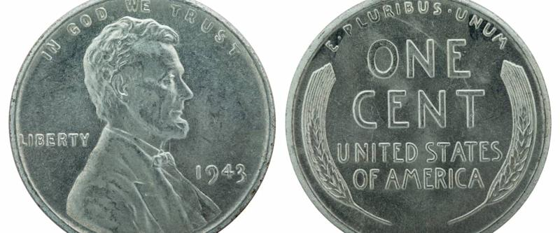 The wartime 1943 Lincoln penny was made of zinc-coated steel.