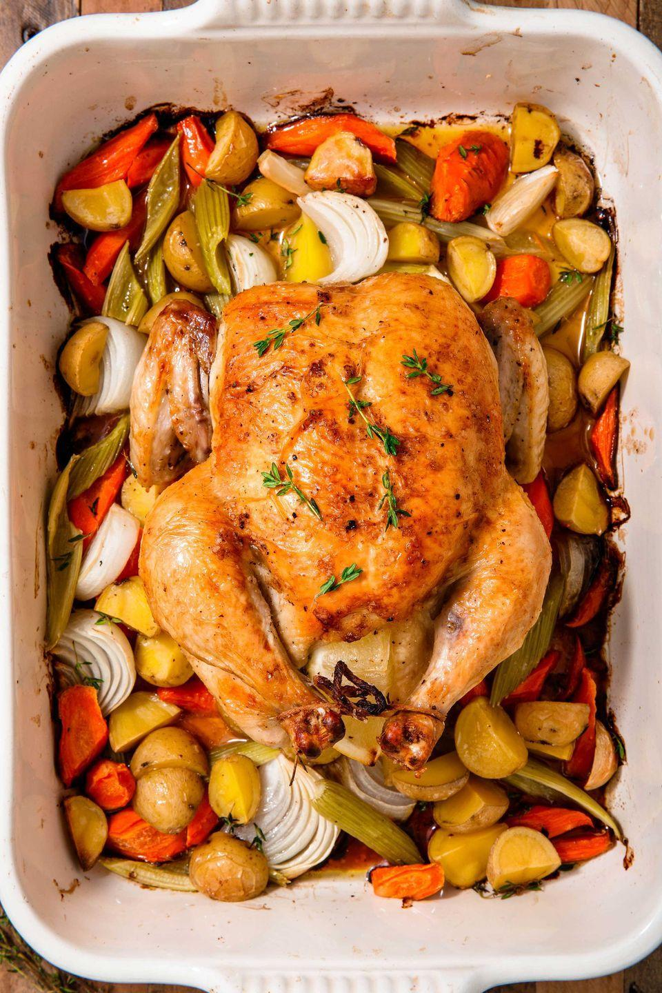 """<p>Intimidated by a whole chicken? Don't be! It's surprisingly easy to make, and there's nothing better than roast chicken leftovers. Great on salads and in sandwiches.</p><p>Get the <a href=""""http://www.delish.com/uk/cooking/recipes/a28926109/classic-roast-chicken-recipe/"""" rel=""""nofollow noopener"""" target=""""_blank"""" data-ylk=""""slk:Classic Roast Chicken"""" class=""""link rapid-noclick-resp"""">Classic Roast Chicken</a> recipe. </p>"""