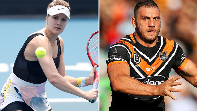 Eugenie Bouchard and Robbie Farah, pictured here at the Australian Open and in the NRL.