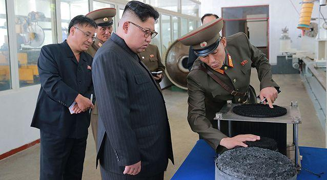 Photos show Kim Jong-un on the tour. Source: AFP/KCNA via: AAP
