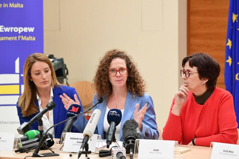 European parliament members (l to r) Roberta Metsola, Sophia in't Veld and Birgit Sippel voiced cncerns over Malta's PM Joseph Muscat (AFP Photo/Andreas SOLARO)