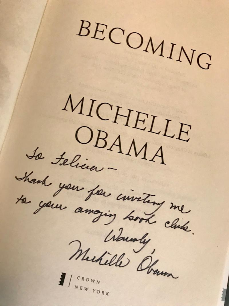 My copy of Becoming, complete with a personal note from Mrs. Obama. (Photo: Courtesy of Felicia Harris)