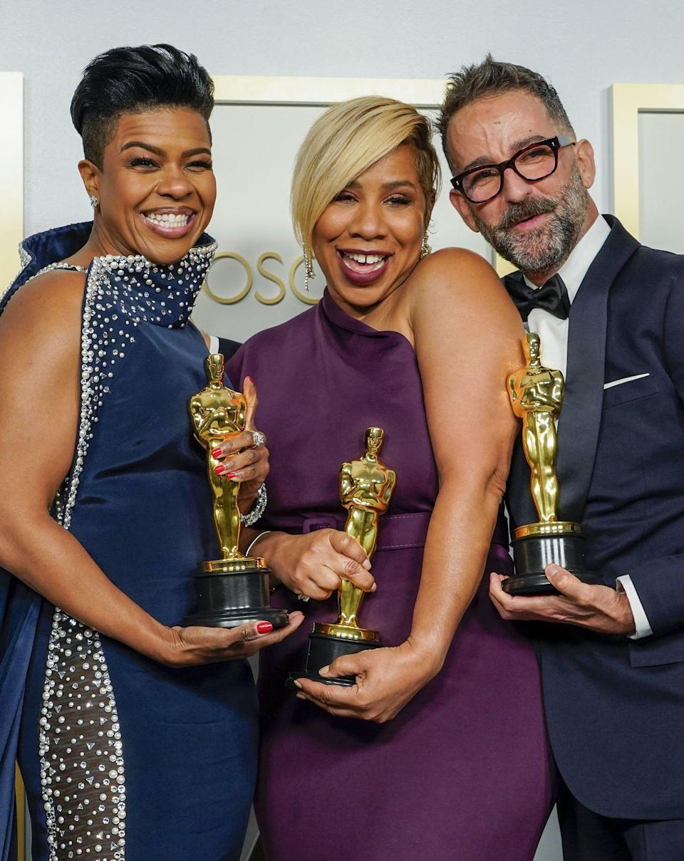 <p>Mia Neal and Jamika Wilson, who won their Oscar for Best Makeup and Hairstyling alongside Sergio Lopez-Rivera, became the first Black women to win the category on Sunday night for their work on Ma Rainey's Black Bottom.</p><p>During their acceptance speech, Neal spoke out the importance of seeing minority women on stage.</p><p>'I can picture Black trans women standing up here. And Asian sisters. And our Latina sisters. And indigenous women.And I know that one day it won't be unusual or groundbreaking. It will just be normal,' she said. <br></p>