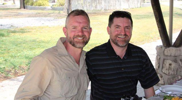 Kirk Muddler (right) and his partner Andrew (left) have been subject to homophobic abuse at their Queensland home. Source: Supplied