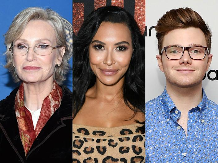 "Stars like Jane Lynch and Chris Colfer reacted to the death of ""Glee"" costar Naya Rivera."