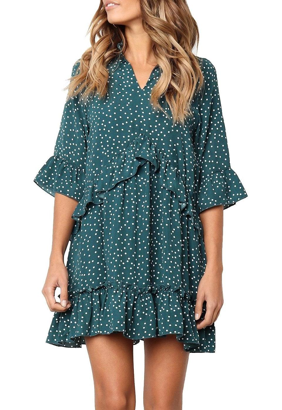 """<br><br><strong>Mitilly</strong> V Neck Ruffle Polka Dot Swing Dress, $, available at <a href=""""https://amzn.to/2X7sP2d"""" rel=""""nofollow noopener"""" target=""""_blank"""" data-ylk=""""slk:Amazon Fashion"""" class=""""link rapid-noclick-resp"""">Amazon Fashion</a>"""