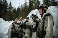 """Swedish soldiers plan their operations as they take part in the annual """"Winter Sun"""" excercise"""
