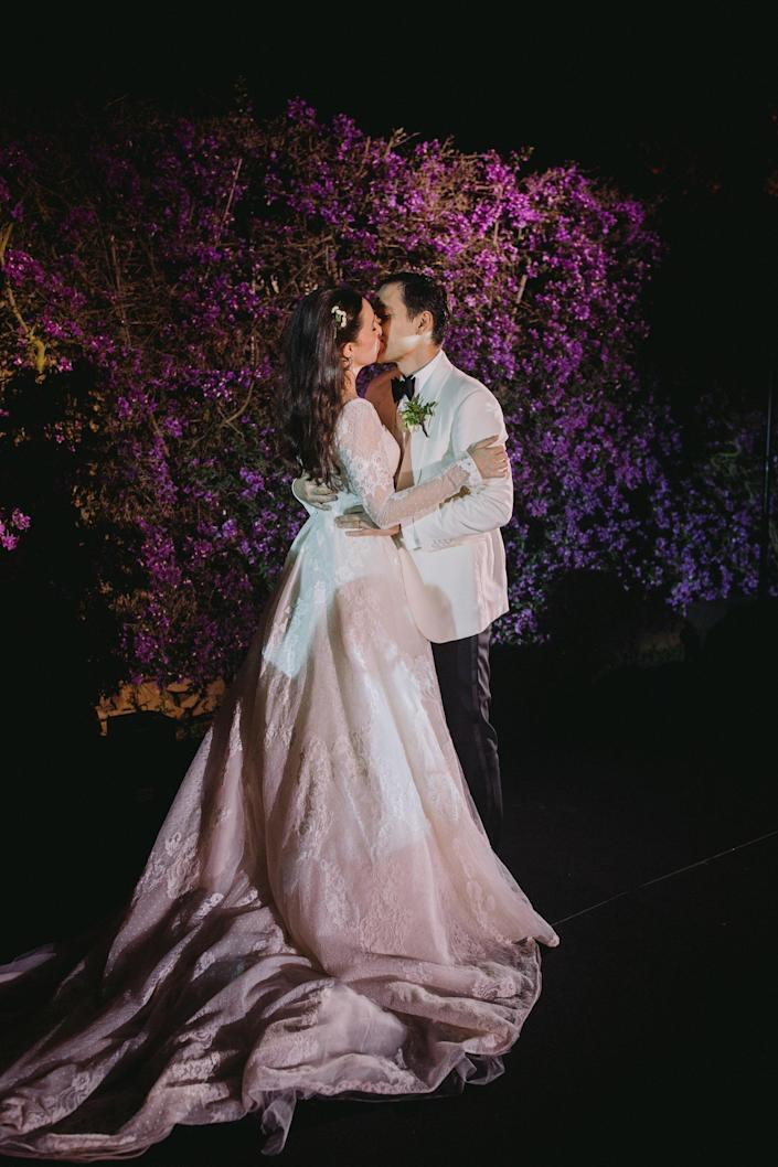 """Aram and I dancing to """"Strangers in the Night"""" by Frank Sinatra. We kissed and said to each other how proud we were that we remembered all the steps to our small dance. It was truly the best day of our lives, and we will never forget it!"""