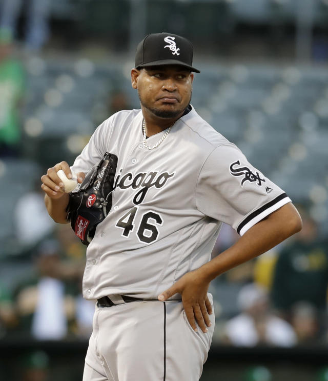 Chicago White Sox's Ivan Nova waits to pitch against the Oakland Athletics after giving up a second home run in the second inning of a baseball game Friday, July 12, 2019, in Oakland, Calif. (AP Photo/Ben Margot)