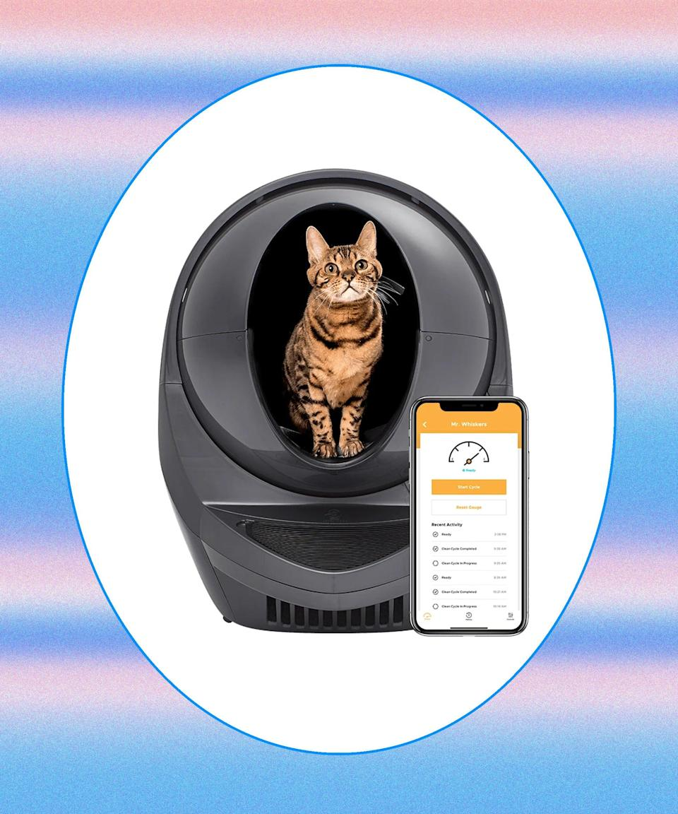 """<h2>Litter-Robot<br></h2>Asking your neighbor to drop by and feed your cat is one thing, but expecting them to clean the litter box is another. Litter Robot's self-cleaning litter box sifts out your feline's waste after each use into a removable tray below. This way, your cat will have a consistently clean box without your sitter ever having to lift a scooper. <br><br><strong>Litter-Robot</strong> Litter-Robot 3 Connect, $, available at <a href=""""https://go.skimresources.com/?id=30283X879131&url=https%3A%2F%2Fwww.litter-robot.com%2Flitter-robot-iii-open-air-with-connect.html"""" rel=""""nofollow noopener"""" target=""""_blank"""" data-ylk=""""slk:Litter Robot"""" class=""""link rapid-noclick-resp"""">Litter Robot</a>"""