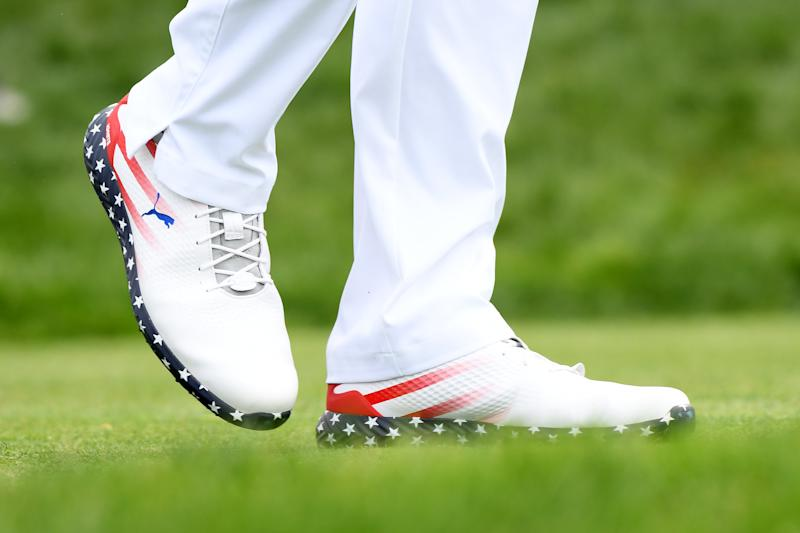 PEBBLE BEACH, CALIFORNIA - JUNE 13: A detail of the shoes worn by Gary Woodland of the United States during the first round of the 2019 U.S. Open at Pebble Beach Golf Links on June 13, 2019 in Pebble Beach, California. (Photo by Harry How/Getty Images)